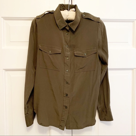 Olive Green Silk Button Up fits small Size 12
